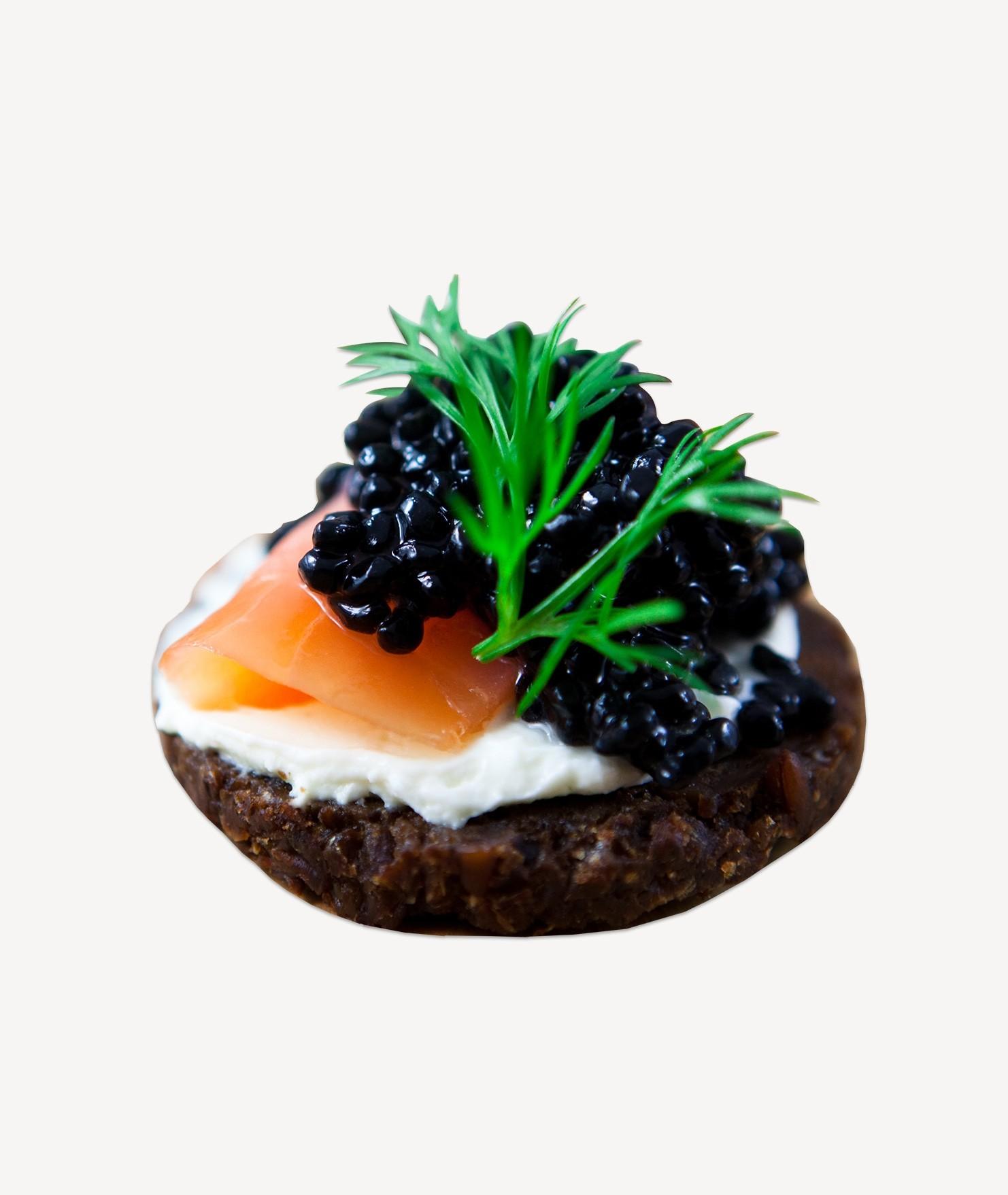 Elegant Caviar & Smoked Salmon Stacked Canapés Photo